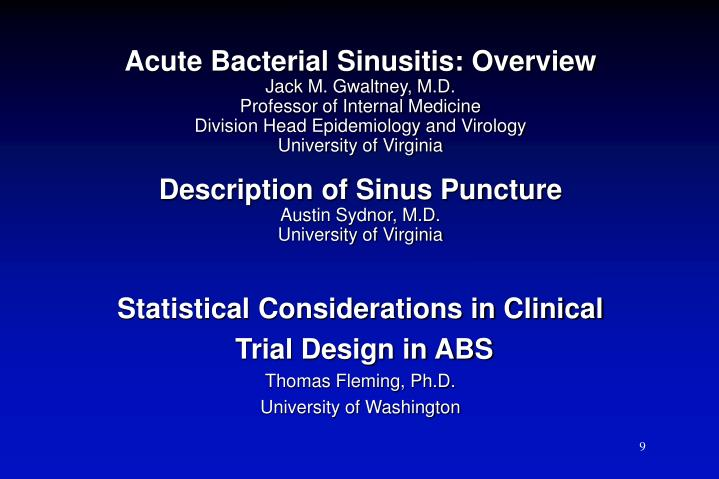 Acute Bacterial Sinusitis: Overview