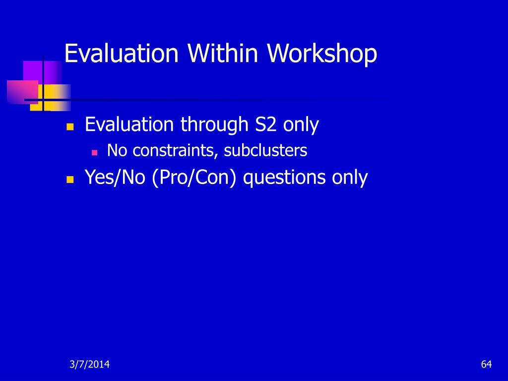 Evaluation Within Workshop