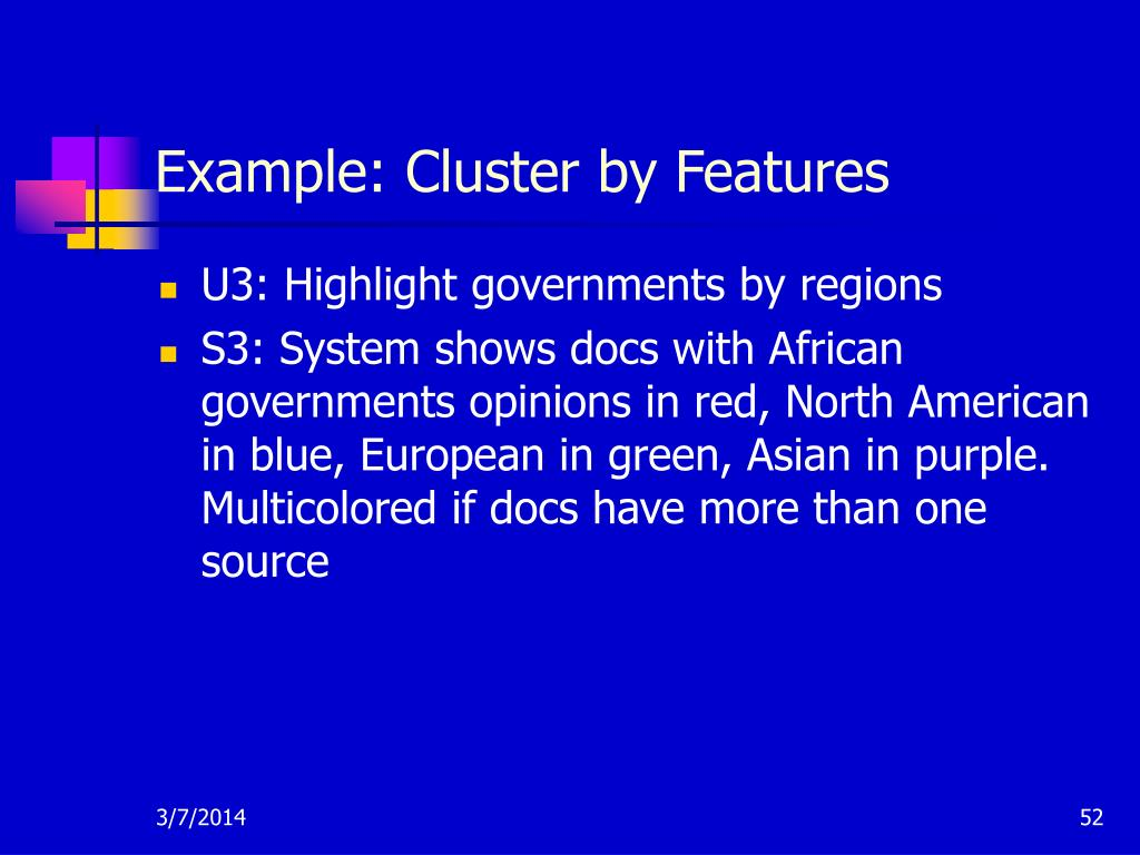 Example: Cluster by Features