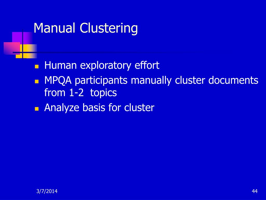 Manual Clustering