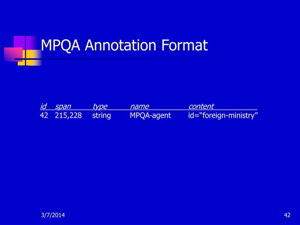 MPQA Annotation Format