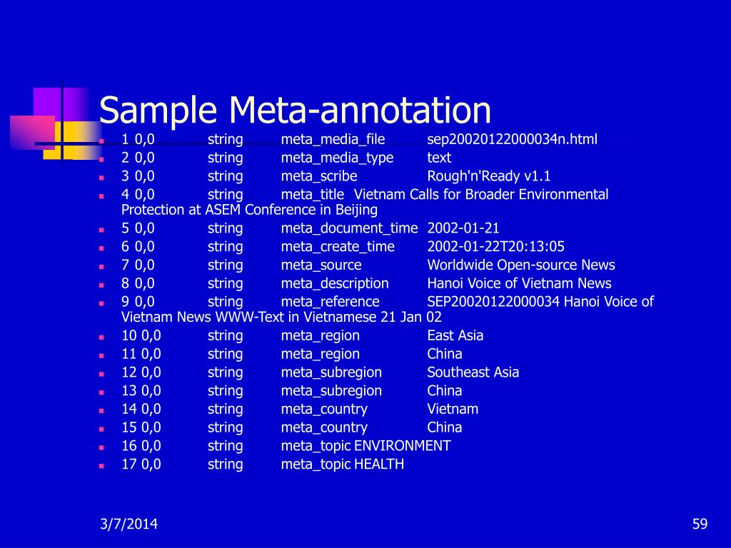 Sample Meta-annotation