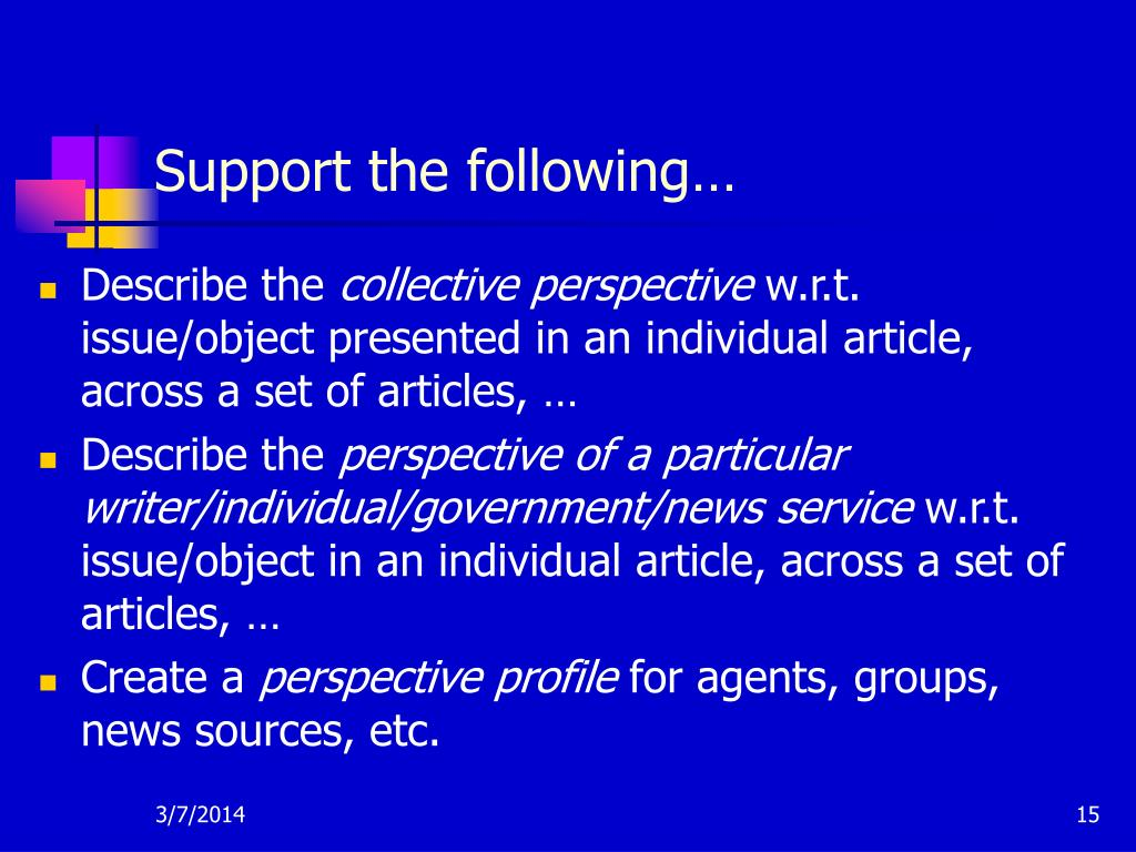 Support the following…