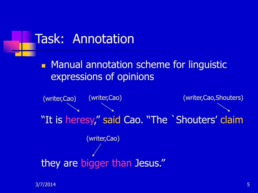 Manual annotation scheme for linguistic expressions of opinions