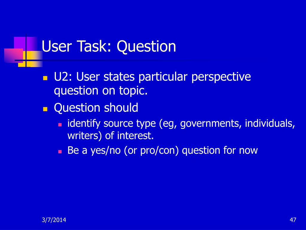 User Task: Question