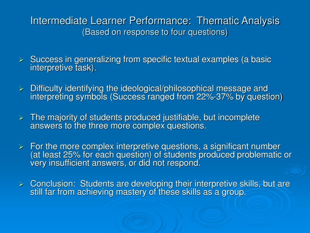 Intermediate Learner Performance:  Thematic Analysis