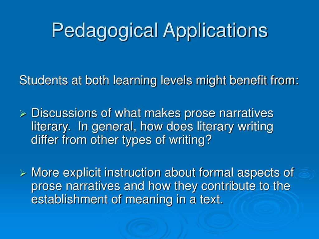 Pedagogical Applications