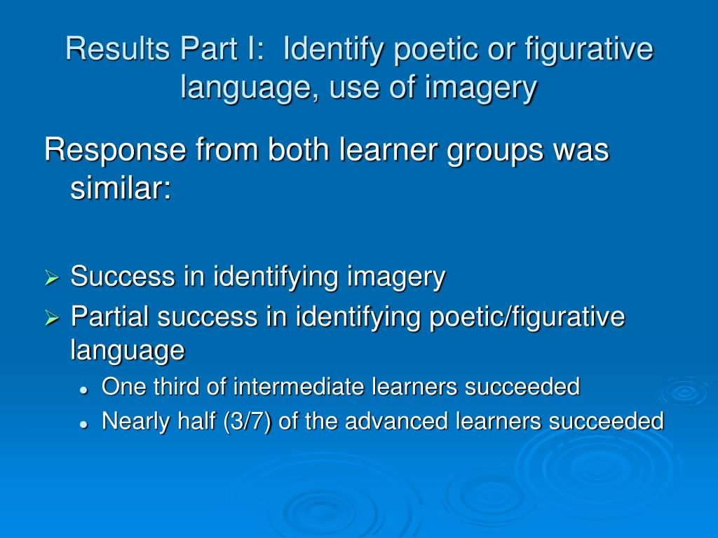 Results Part I:  Identify poetic or figurative language, use of imagery