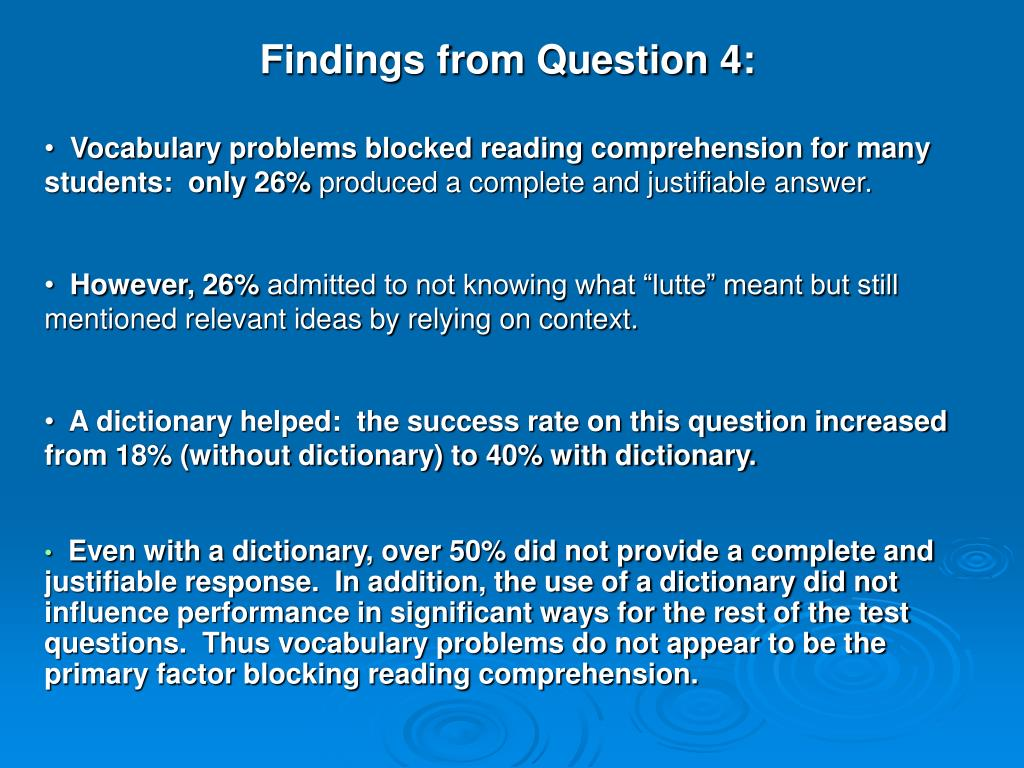 Findings from Question 4: