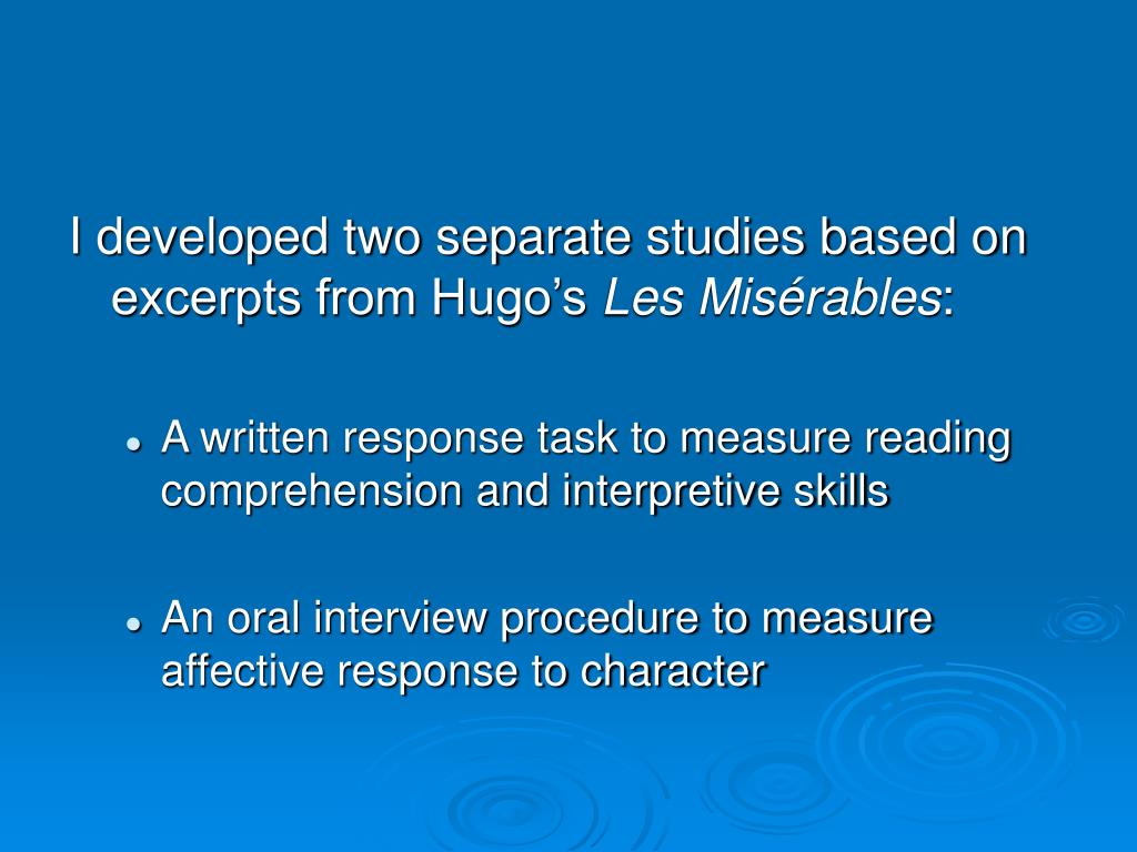 I developed two separate studies based on excerpts from Hugo's