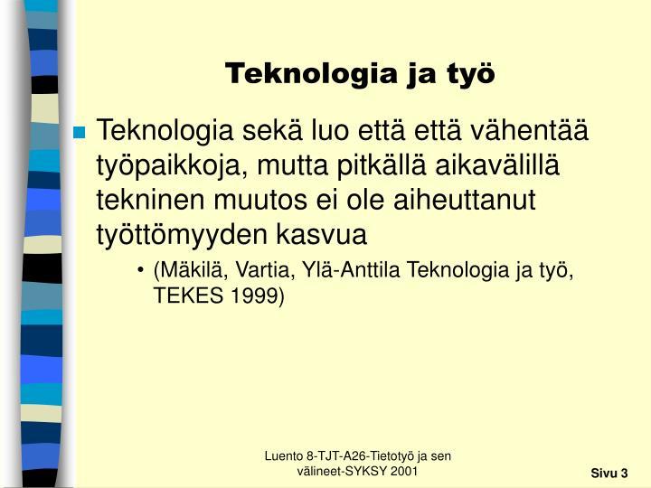 Teknologia ja työ