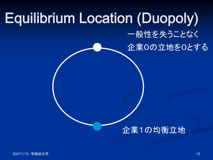 Equilibrium Location (Duopoly)