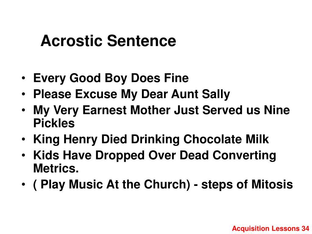Acrostic Sentence
