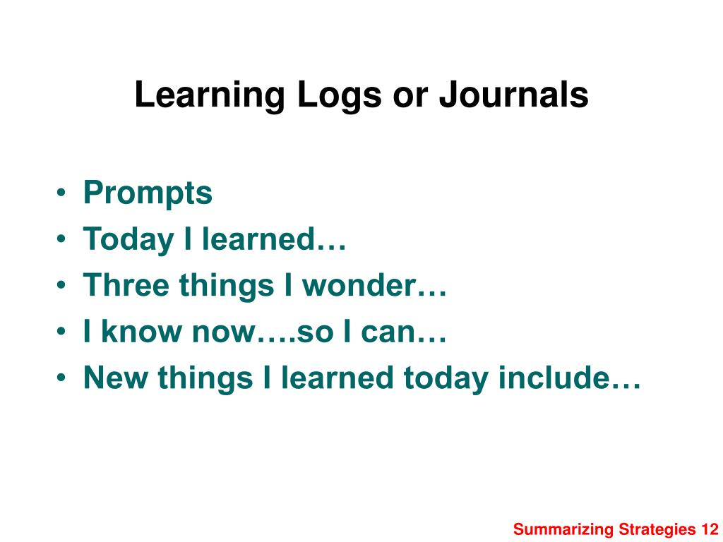 Learning Logs or Journals