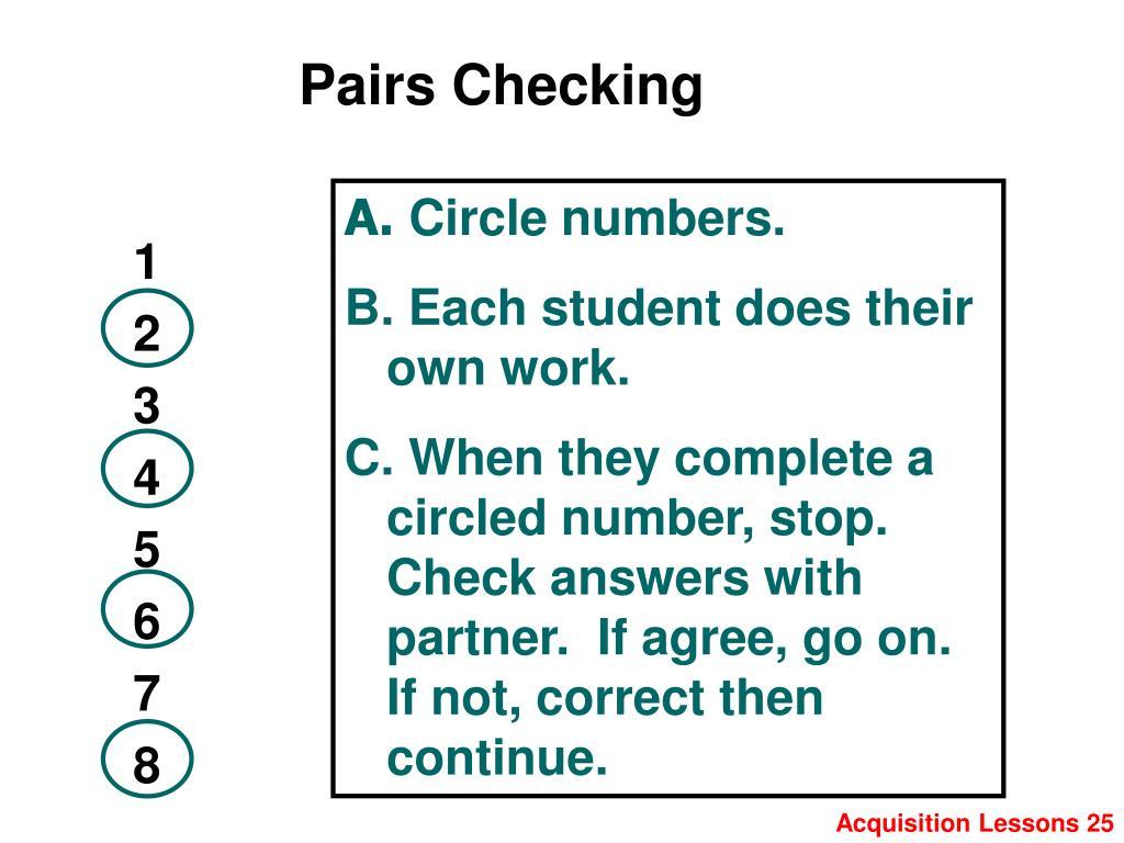 Pairs Checking