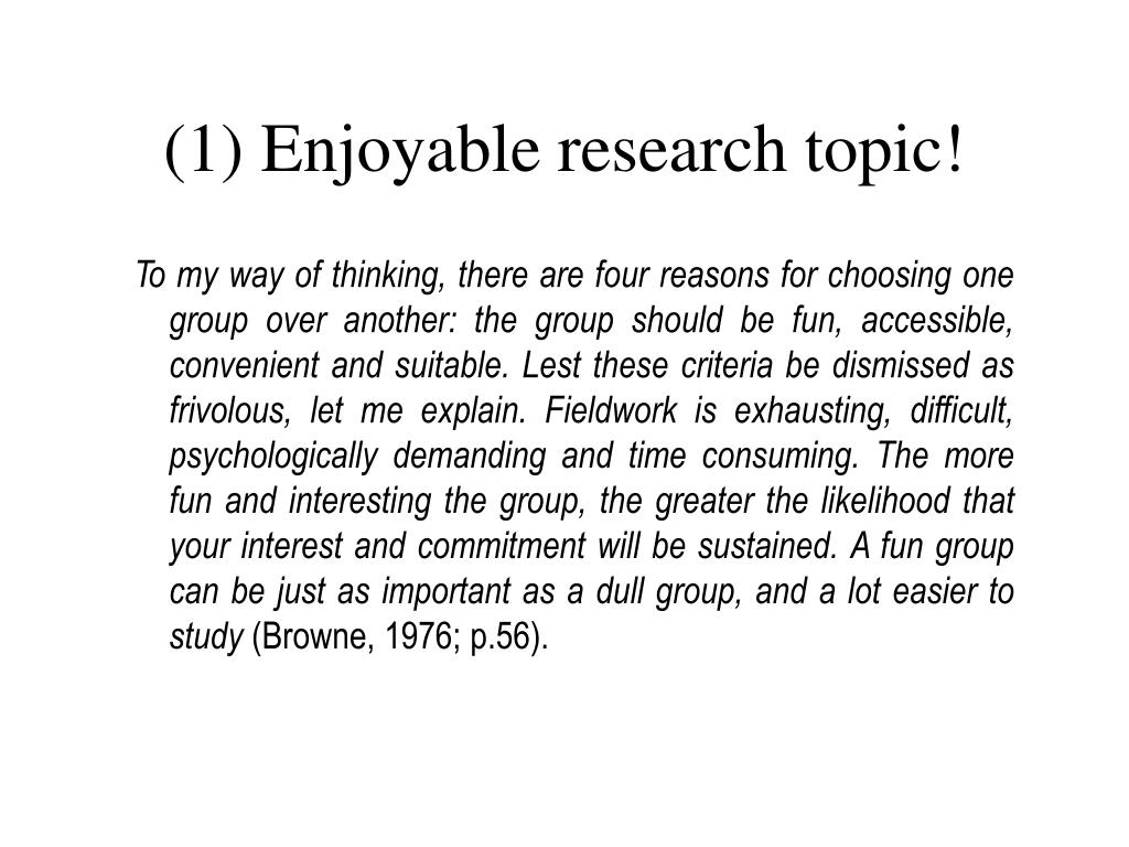 (1) Enjoyable research topic!