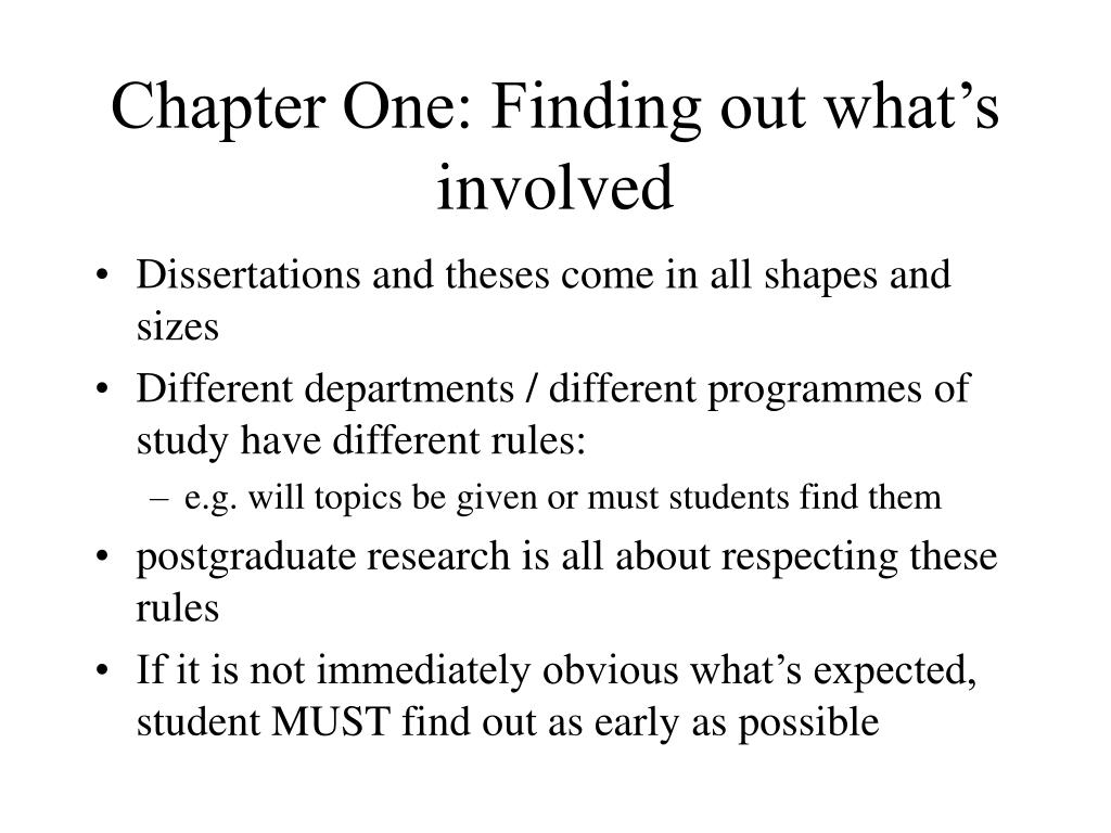 Chapter One: Finding out what's involved