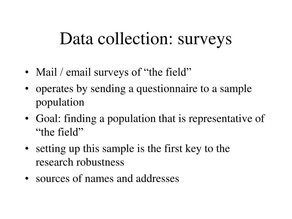 Data collection: surveys