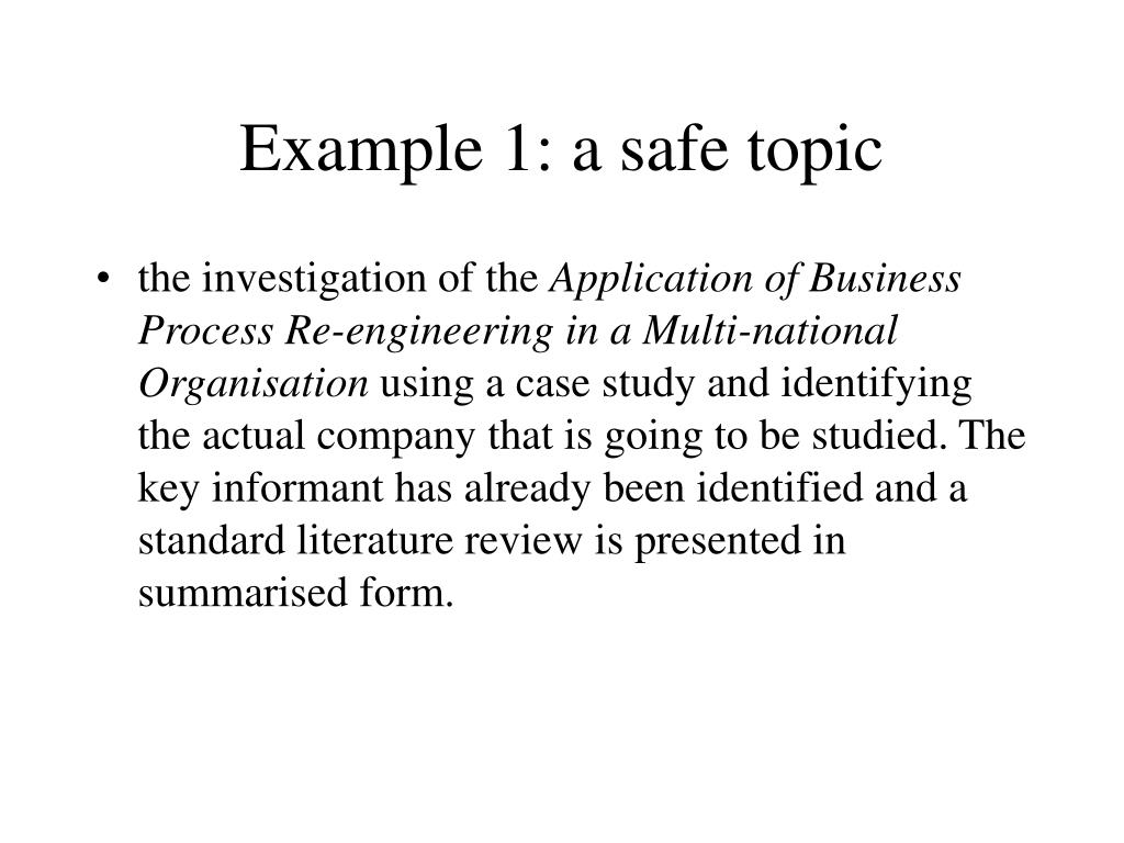 Example 1: a safe topic