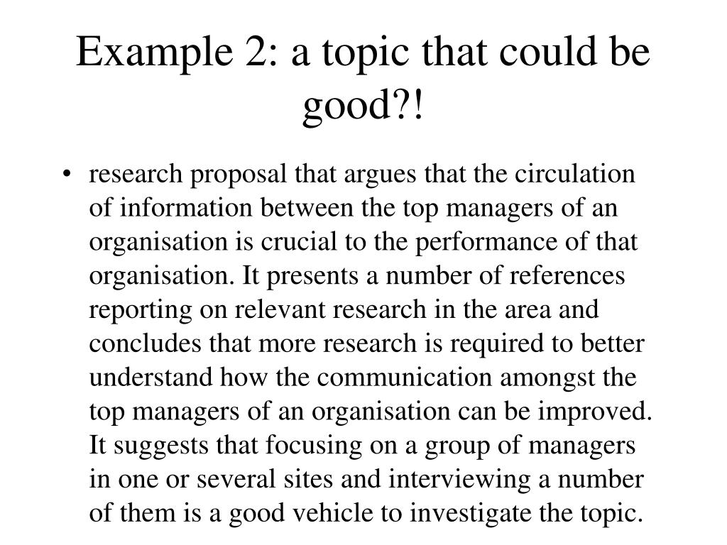 Example 2: a topic that could be good?!