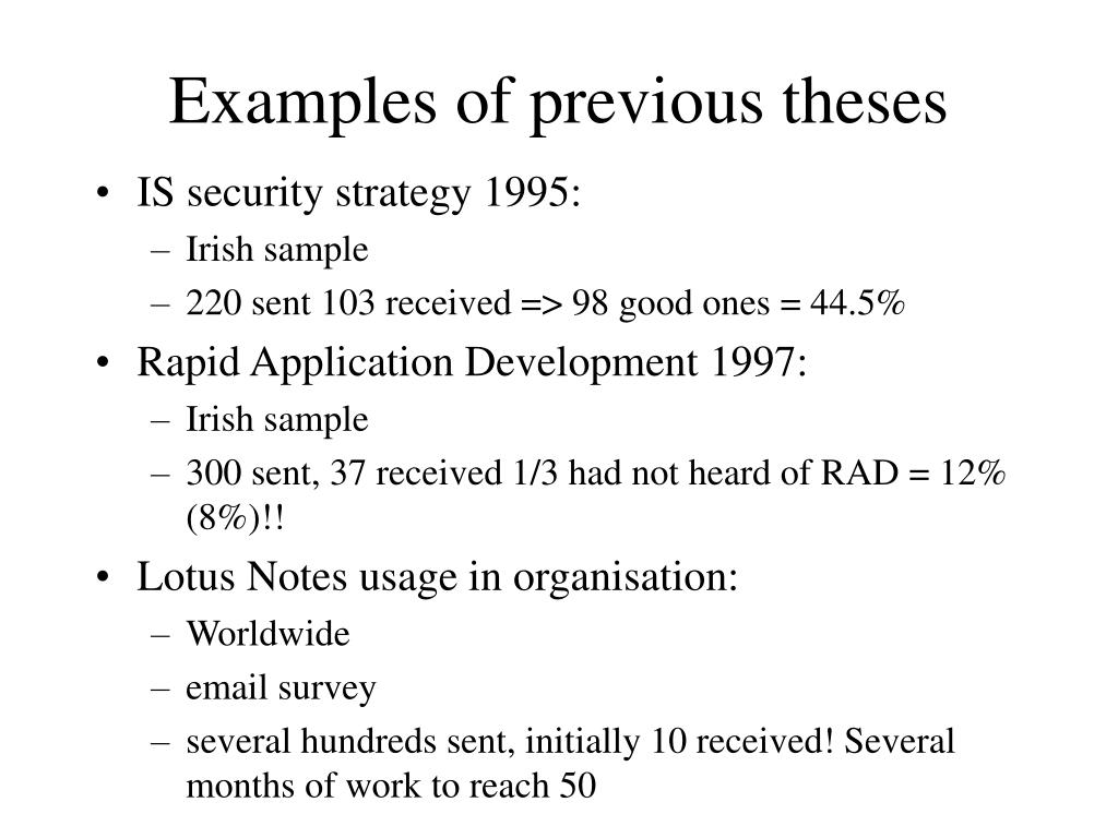 Examples of previous theses