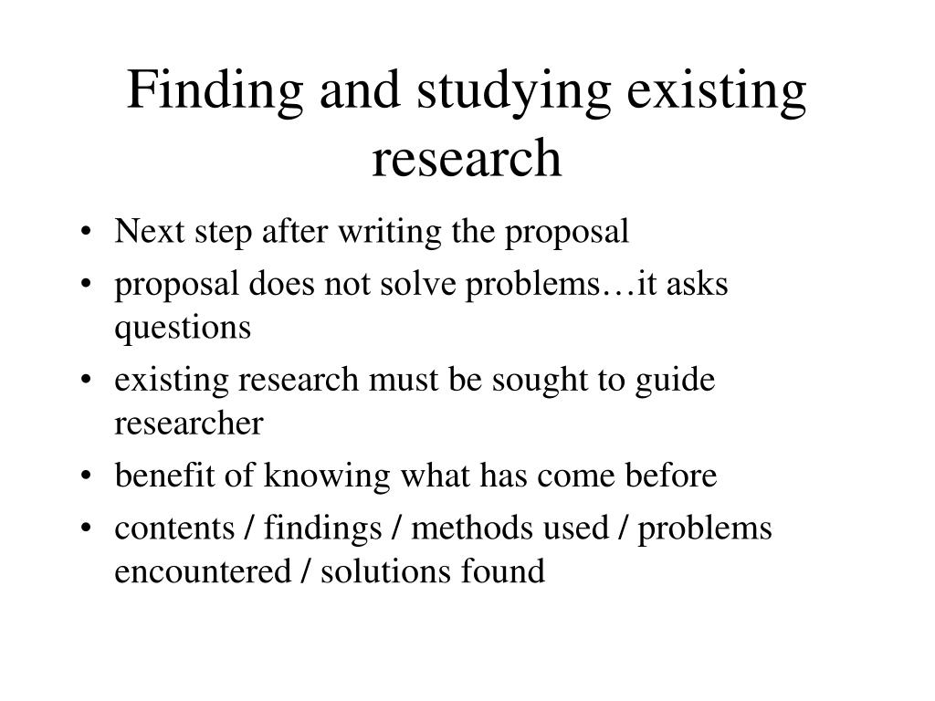 Finding and studying existing research