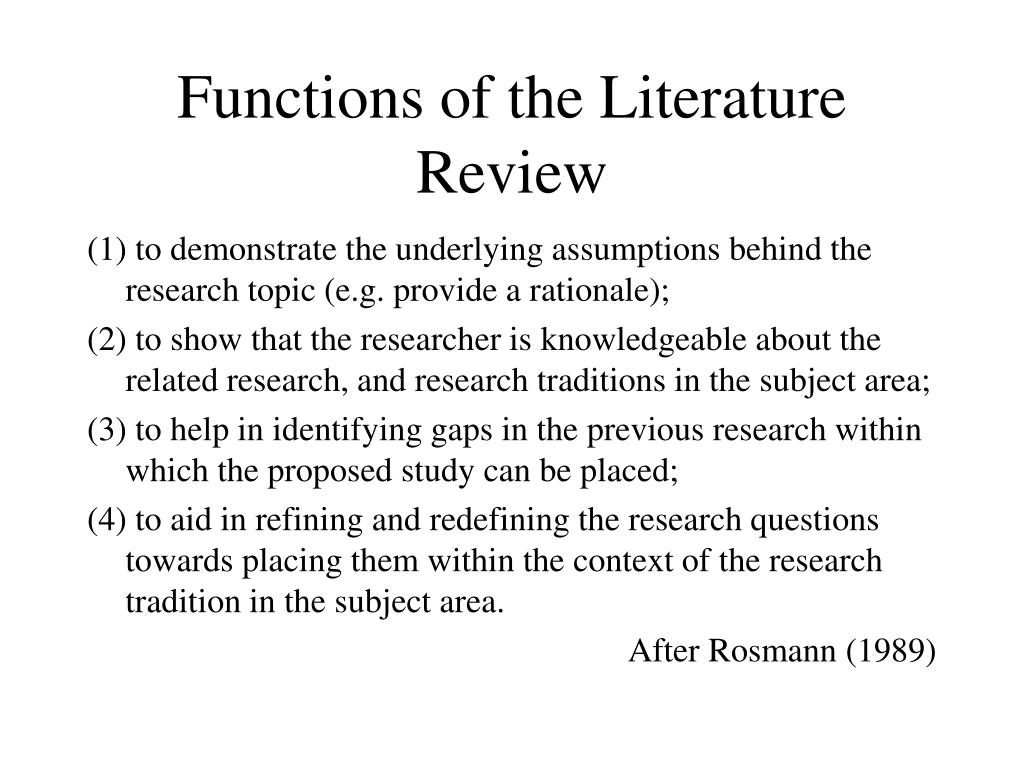 Functions of the Literature Review