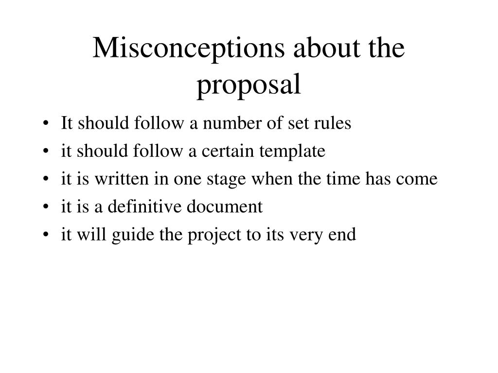 Misconceptions about the proposal