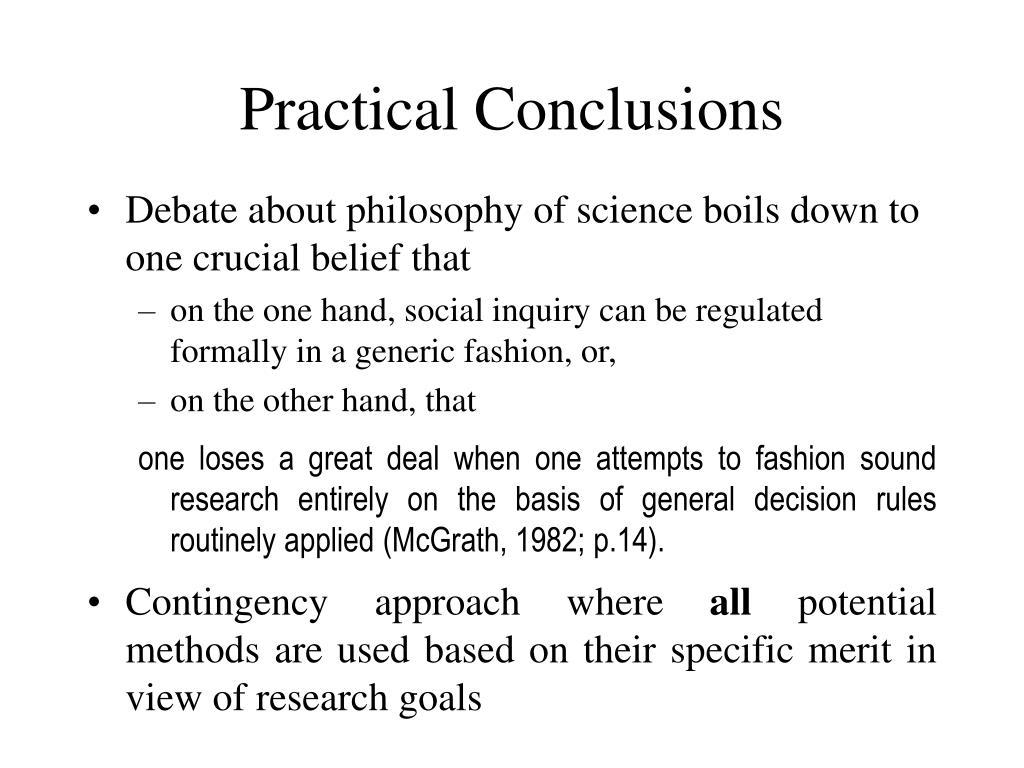 Practical Conclusions