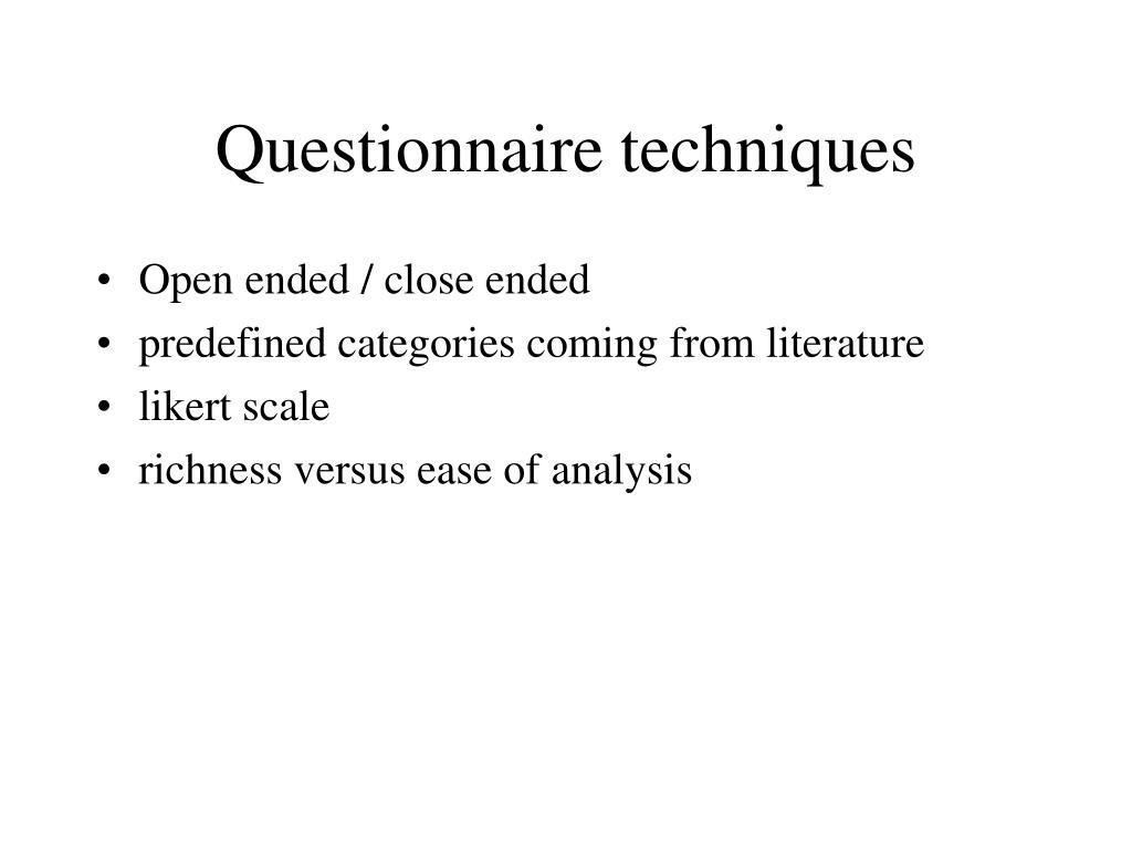 Questionnaire techniques