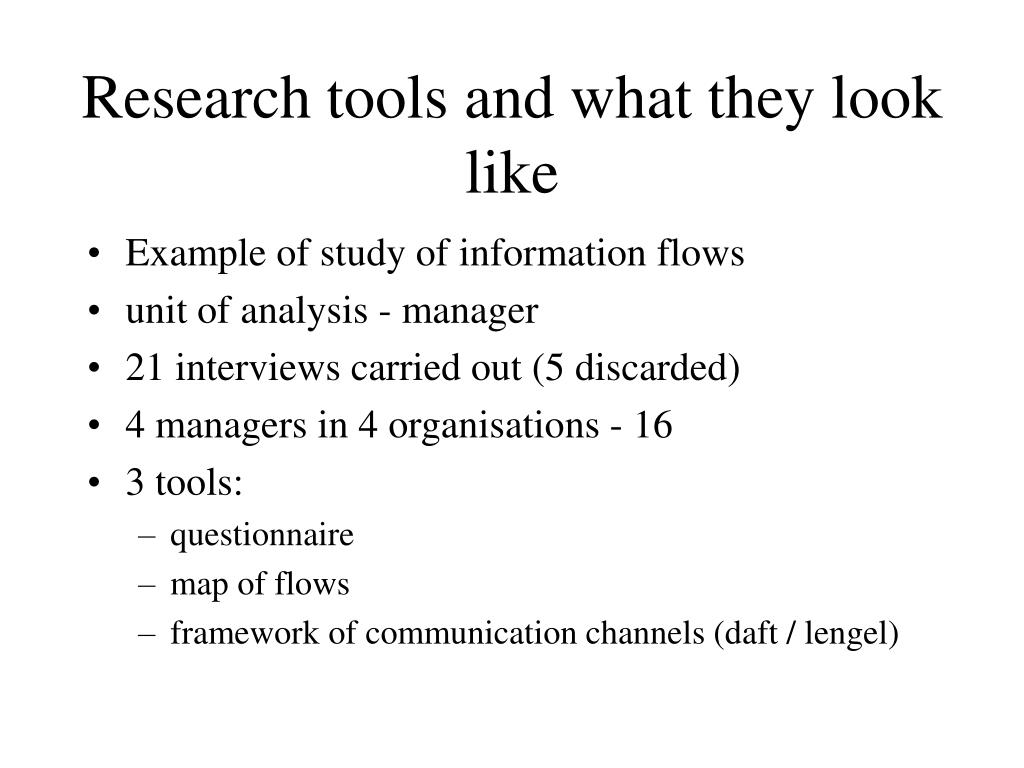 Research tools and what they look like