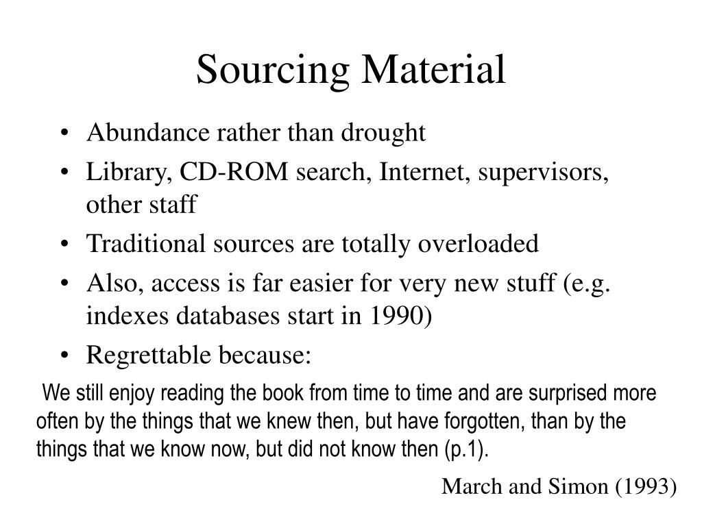 Sourcing Material