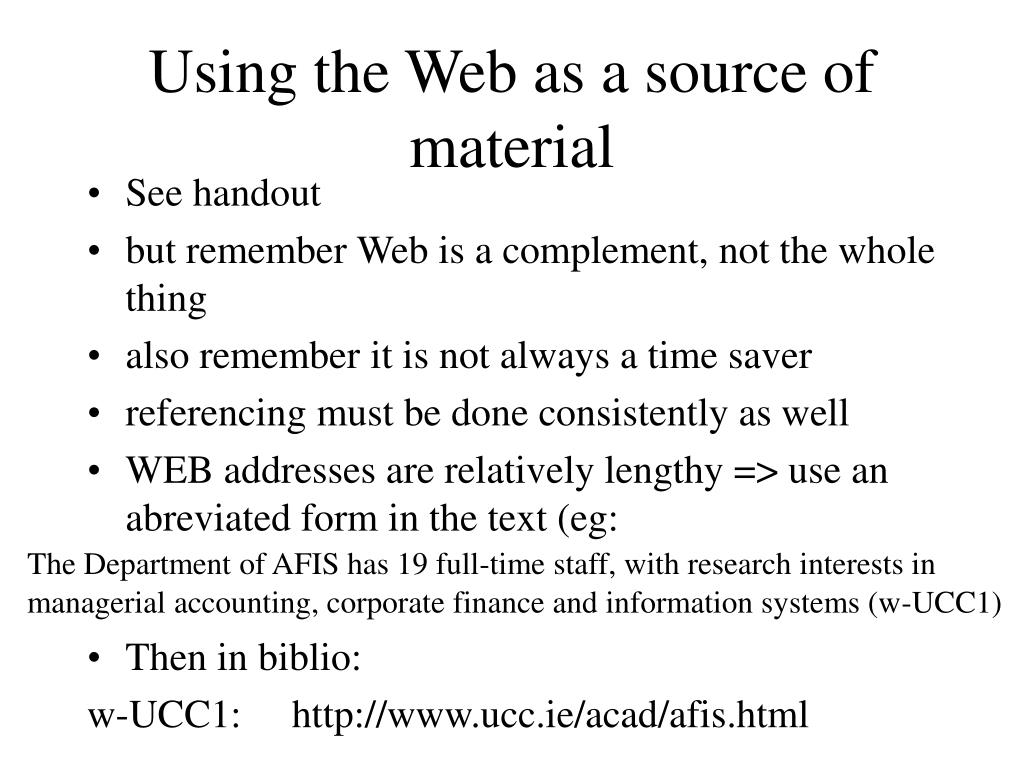 Using the Web as a source of material