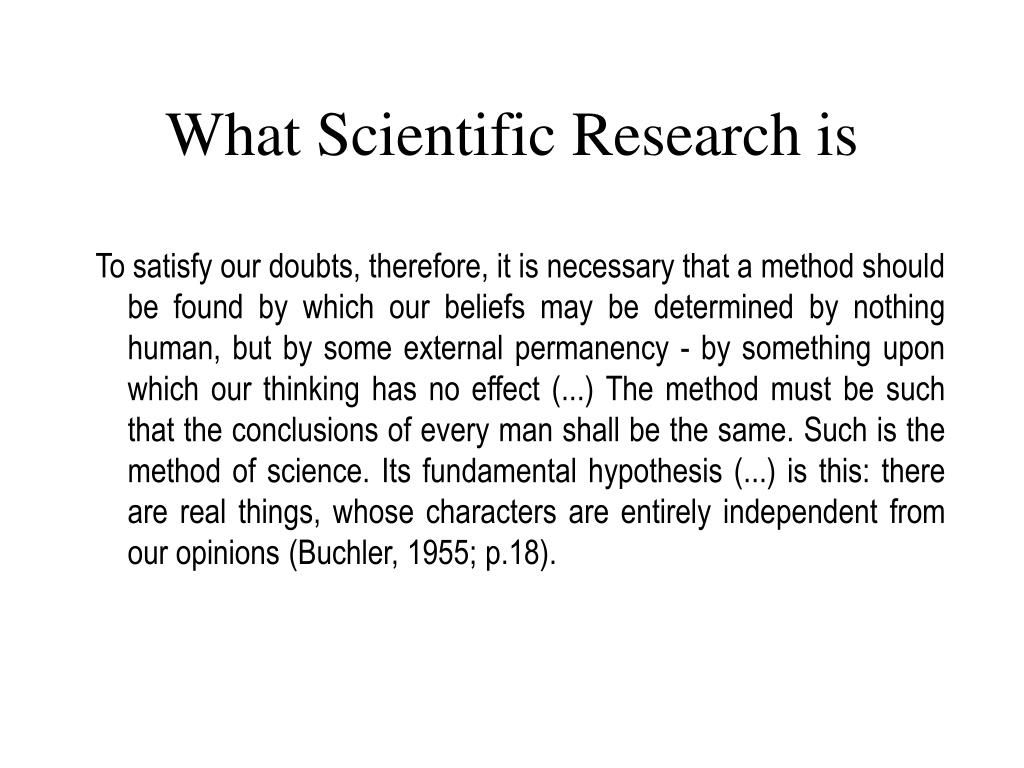 What Scientific Research is