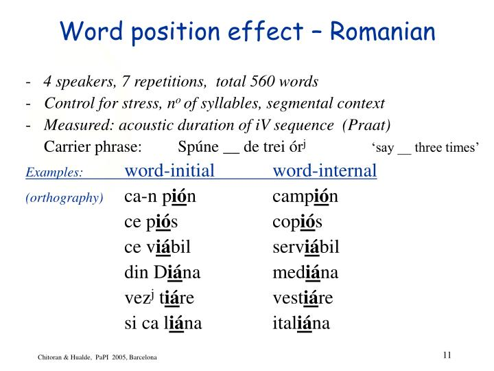 Word position effect – Romanian