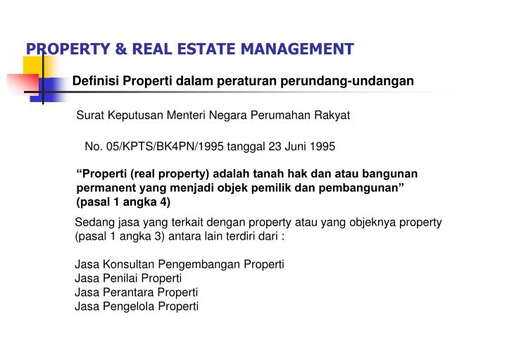 Property real estate management