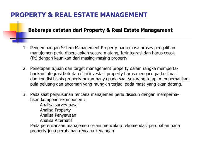 PROPERTY & REAL ESTATE MANAGEMENT