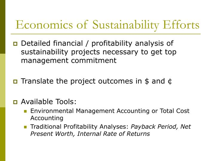 Economics of Sustainability Efforts