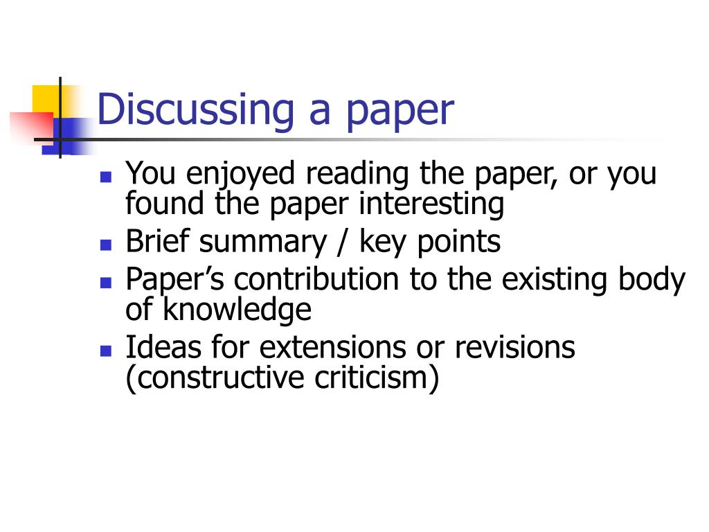Discussing a paper