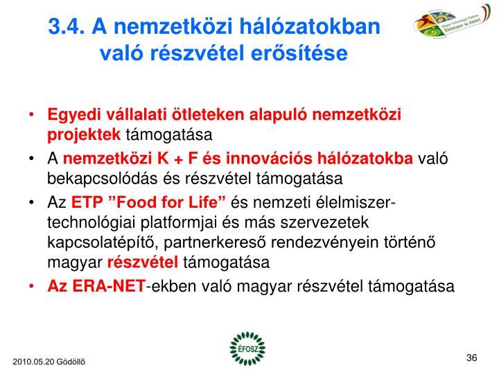 3.4. A nemzetközi hálózatokban való részvétel erősítése