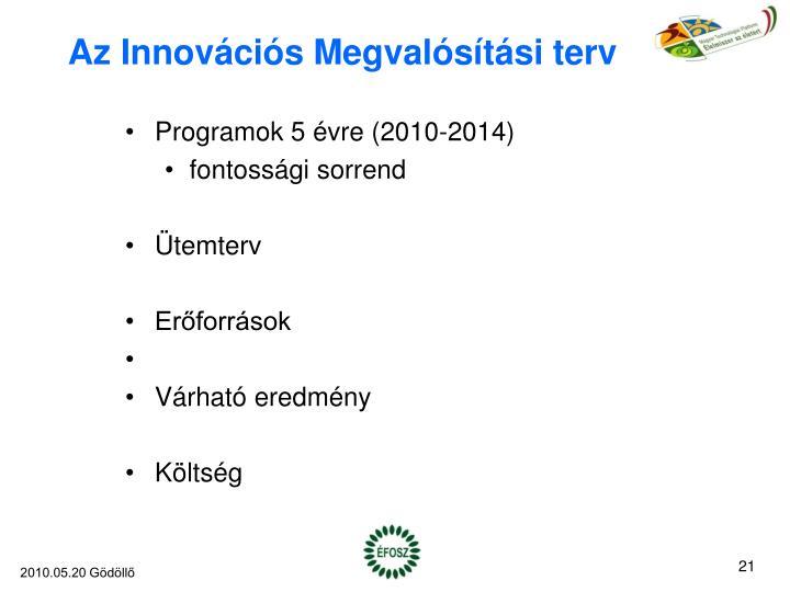 Az Innovációs Megvalósítási terv