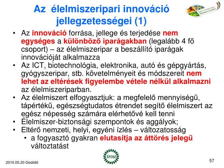 Az  élelmiszeripari innováció jellegzetességei (1)