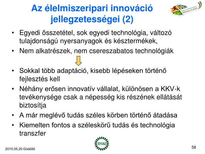 Az élelmiszeripari innováció jellegzetességei (2)