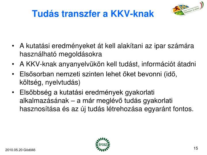 Tudás transzfer a KKV-knak