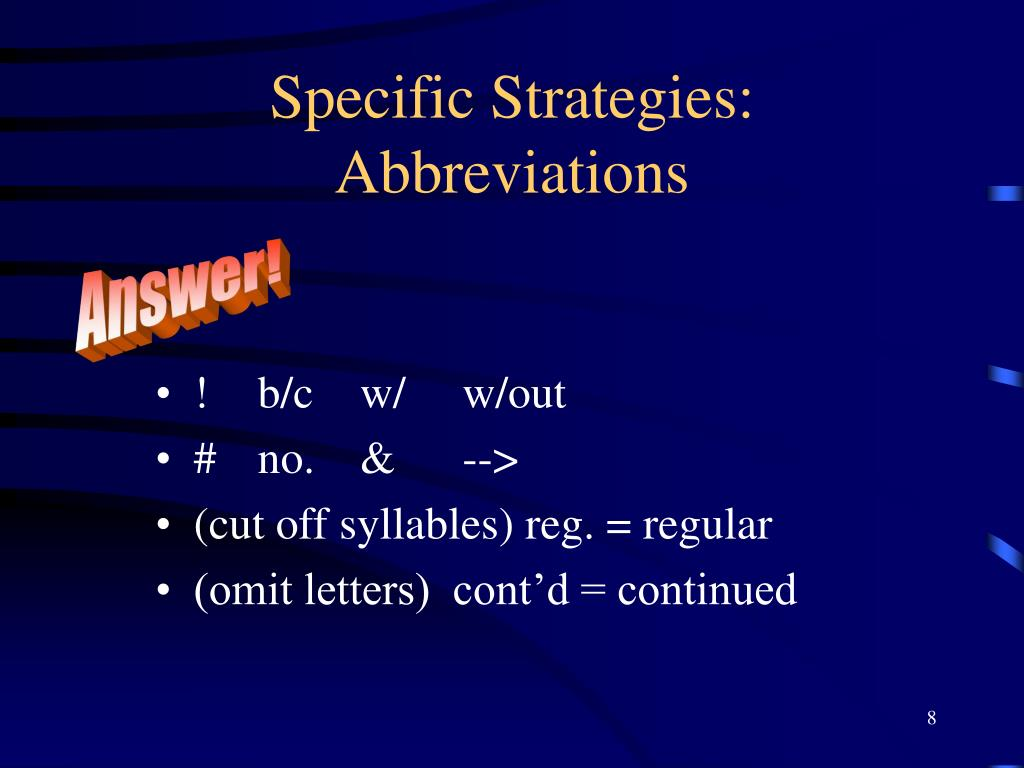 Specific Strategies: Abbreviations