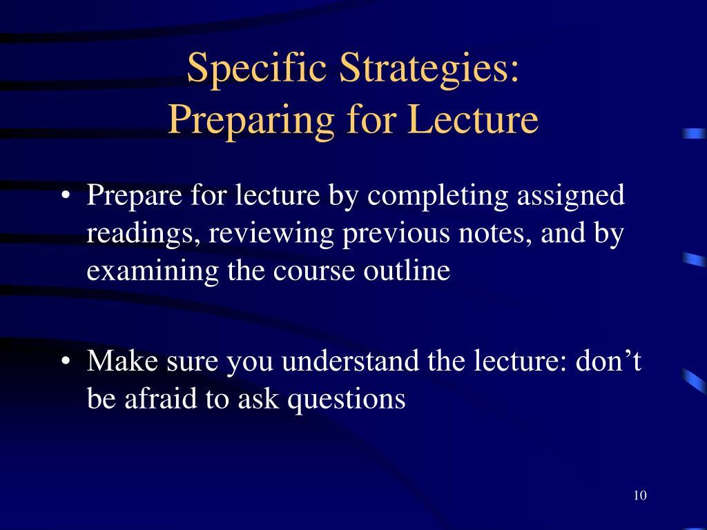 Specific Strategies: