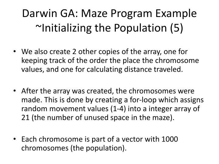 Darwin GA: Maze Program Example