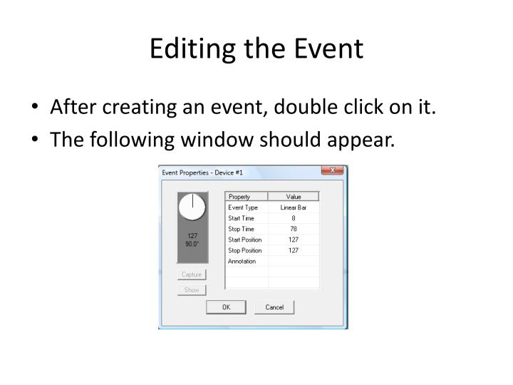Editing the Event