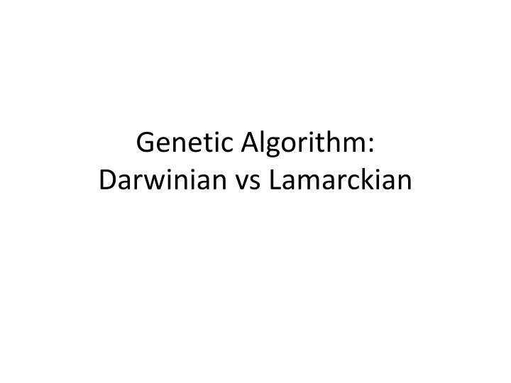 Genetic Algorithm: