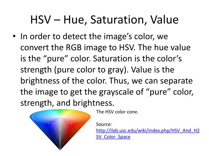 HSV – Hue, Saturation, Value